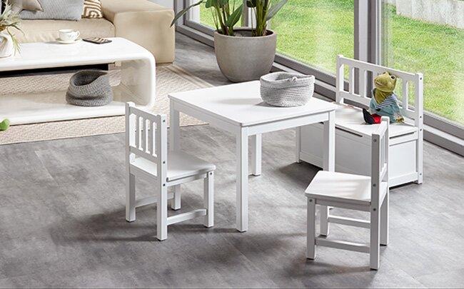Hochwertige Kindersitzgruppe mit Truhenbank aus Holz