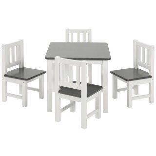 Kindersitzgruppe Amy - 4 Stühlchen Anthrazit/Weiß